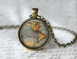 Etsy Globe Necklace- LivinFreely 10 Valentine's Day Gifts Under $60 for the Traveler You Love- Lesbian Travel Guide- DopesOnTheRoad.com
