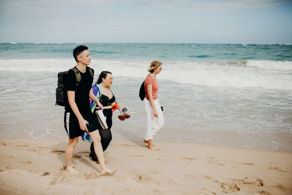 queer women walking on the gay beach in Puerto Rico