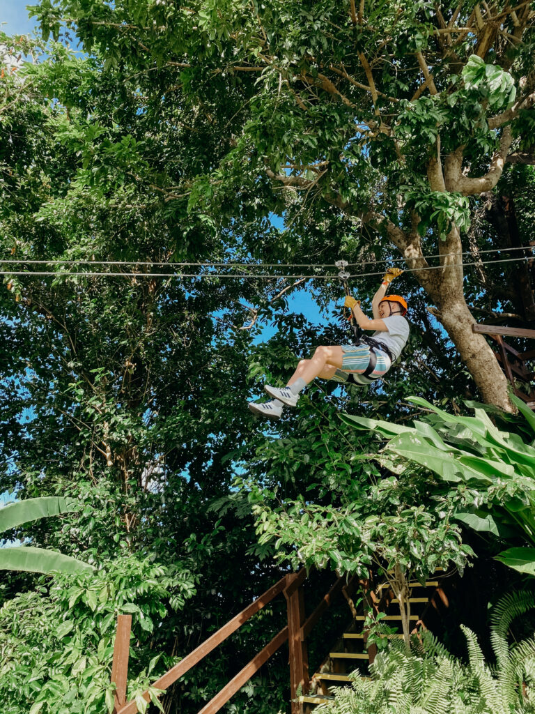person on a zipline